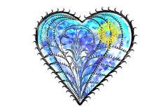 Het hart van saffierjuwelen op witte 3D illustratie wordt geïsoleerd die als achtergrond geeft terug Royalty-vrije Stock Foto's