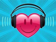 Het hart van Smiley met hoofdtelefoons Stock Fotografie