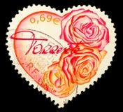 Het hart vormde Franse Postzegel Stock Foto's
