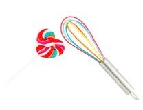 Het hart vormde kleurrijke lolly en de ballon zwaait op witte achtergrond Royalty-vrije Stock Foto's