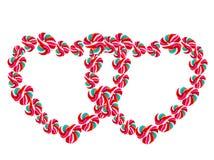 Het hart vormde kleurrijke lolly op witte achtergrond Stock Afbeelding