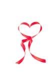 Het hart vormde rood lint Stock Foto