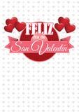 Het hart vormde roze ballons houdend een cirkelteken met een roze lint met het bericht FELIZ DIA DE SAN VALENTIN royalty-vrije illustratie