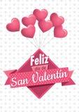 Het hart vormde roze ballons houdend een vierkant teken met een roze lint met het bericht FELIZ DIA DE SAN VALENTIN stock illustratie