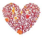 Het hart wordt gemaakt van koralen stock illustratie
