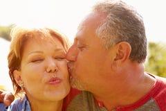 Het hartelijke Hogere Paar Kussen in Tuin stock foto
