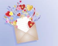 Het hartenvelop van de liefde Stock Foto