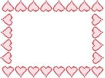 Het hartframe of grens van de valentijnskaart Stock Afbeeldingen