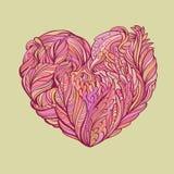 Het hartkrabbels van de floravalentijnskaart Stock Foto's