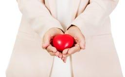 Het hartmodel van de bejaardeholding op open palmen Stock Foto