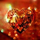Het hartmotief van het metaal op geweven achtergrond Stock Foto's