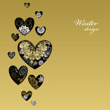 Het hartontwerp van de de winterliefde met gouden sneeuwvlokken De kaart van de liefde Stock Fotografie