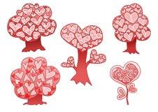 Het hartroze van de ontwerpboom op witte achtergrond royalty-vrije illustratie