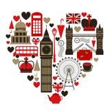 Het hartsymbool van liefdelonden vector illustratie