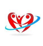Het hartvorm van de familieliefde royalty-vrije illustratie