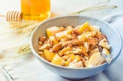 Het havermeel van de havermoutpapkom met fruit gezond ontbijt op zonnige ochtendlijst Royalty-vrije Stock Afbeelding