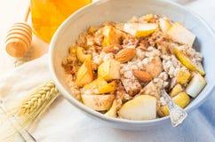 Het havermeel van de havermoutpapkom met fruit gezond ontbijt op zonnige ochtendlijst Stock Fotografie