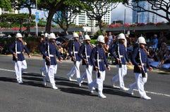 Het Hawaiiaanse leger bewaakt eenheid het marcheren Stock Foto