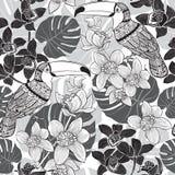 Het Hawaiiaanse Naadloze Patroon van Aloha Zwart-wit achtergrond Stock Foto