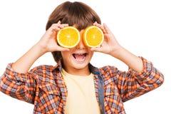 Het hebben van pret met sinaasappel Stock Fotografie
