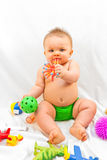 Het hebben van pret met speelgoed Stock Fotografie