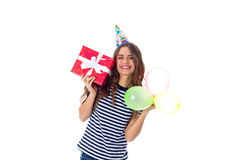 Het heden en de ballons van de vrouwenholding Stock Foto's