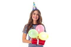 Het heden en de ballons van de vrouwenholding Stock Afbeeldingen