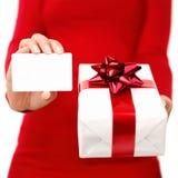 Het heden van Kerstmis en giftkaart Stock Afbeeldingen