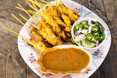 Het heerlijke Aziatische varken Satay van de Keuken Stock Foto