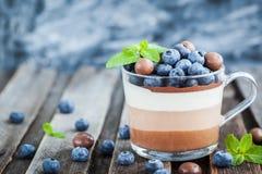 Het heerlijke drie gelaagde dessert van de chocolademousse, devorated verstand Stock Foto