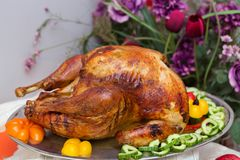 Het heerlijke Extravagante Diner van Dankzeggingsturkije Stock Foto