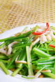 Het heerlijke voedsel van China-- de gebraden selderie van het varkenslendestuk strook royalty-vrije stock afbeelding