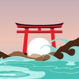 Het Heiligdom en de Poortoriëntatiepunthoogtepunt van Japan vector illustratie