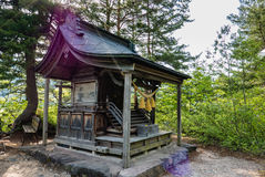 Het heiligdom op het meningspunt van shirakawa-gaat stock fotografie