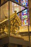 Het Heiligdom van Charlemagne in het Gotische koor van de Kathedraal van Aken, voorgevel, Aken Duitsland stock foto's