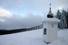 Het heiligdom van de wegkant in de winter stock fotografie