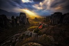 Het Heilige licht in Meteora Stock Afbeeldingen