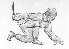 Het heimelijk nemen ninja - potloodschets Stock Afbeelding