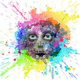 Het heldere gezicht van de kleurenrobot stock illustratie