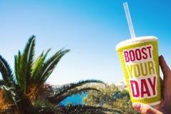 Het heldere grote plastic glas met woorden voert uw dag op de blauwe hemelachtergrond en de palmen, hete de zomerdag, drank smoot Royalty-vrije Stock Afbeeldingen