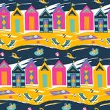 Het heldere kleurrijke vector naadloze patroon van de strandcabine royalty-vrije illustratie