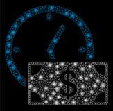 Het heldere Krediet van de Netwerk 2D Dollar met Gloedvlekken vector illustratie