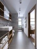 Het heldere moderne badkamersbinnenland met separaded douche Royalty-vrije Stock Afbeelding
