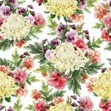 Het heldere naadloze patroon van de waterverfherfst met bloemen van chrysant en viooltjes royalty-vrije illustratie