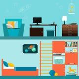Het heldere oranje en blauwe gekleurde binnenland van de kinderenruimte voor gebruik in ontwerp voor voor kaart, uitnodiging, aff Royalty-vrije Stock Afbeelding