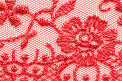 Het heldere rode macroschot van de kant materiële textuur Royalty-vrije Stock Foto