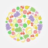 Het heldere vectorpictogram van de fruitkrabbel vector illustratie
