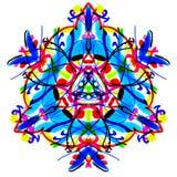 Het heldere Veelkleurige driehoekige patroon. Geschilderde mandala. Royalty-vrije Stock Afbeeldingen
