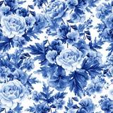 Het heldere waterverf naadloze patroon met pioen, rozen en viooltje bloeit, bessen stock illustratie