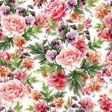 Het heldere waterverf naadloze patroon met pioen, rozen en viooltje bloeit, bessen vector illustratie
